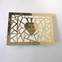 Espelho acrílico personalizado com branco Livro de visitas em branco assinatura de casamento livro de convidado personalizado