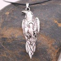 Anhänger Halsketten Nostalgie Norse Crow Wikinger Odin Raven Mit Halbmond Wicca Schmuck Vogel Halskette