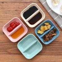 Newmpresa Paja 2 Grids ensalada plato especias condimento Jam Placa de color sólido Placas de mesa Cocina Cocina Restaurante Vajilla RRE10652