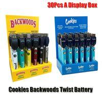 Galletas Backwoods Twist PREEPEAT VV BATERÍA VV de 900mAh Tensión inferior Ajustable Cargador USB Vape Pen para 510 cartuchos 30pcs Una caja de visualización