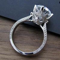 빈티지 3ct 실험실 다이아몬드 반지 925 스털링 실버 Bijou 약혼 결혼식 밴드 링 여성을위한 신부 성명서 파티 쥬얼리