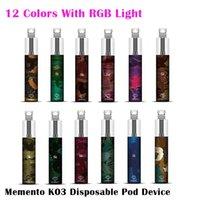 Autentisk Memento K03 Engångs Pod-enhetskit med RGB-ljus 850mAh Batteri 1500 Puff Prefilled Cartridge Vape Pen Genuine vs Bar Plus