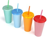 Cambiamenti di colore con set di paglia, tazze di acqua fredda da 24 once, tazza di caffè ghiacciata estate tazza da caffè per adulti, drinkware in plastica