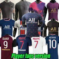 Spieler Fans Version 2021 2022 Paris Home Football Fußball Jerseys Mbappe Maillots de 20 21 22 Pink Icardi Shirt Männer Kimpembe 4. Gana Kean Marquinhos Blue Training Anzug