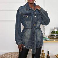 Women's Jackets JAYCOSIN Women Denim Jacket Vintage Button Down Distressed Short Coat Lapel Belt Dress With Pocket Jean