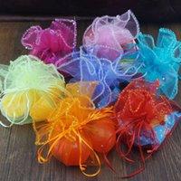 (50 Pictures / lot) Zufällige Farbe Schmuck Verpackung Runde Hochzeit Geschenk Beutel Sachet Organza Verpackungstaschen
