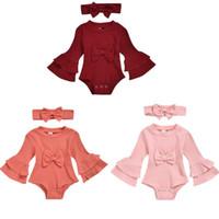 Conjunto de roupas de crianças Bebê cor sólida cor chifre manga poço tira de manga longa triângulo jaqueta jaqueta headband 2pcs / set outfit terno yl433
