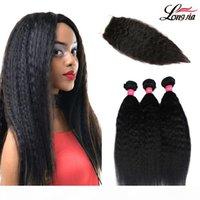 Peruanisches kinkiges gerades Haar-Gewebe-Bündel mit Verschluss 100% Menschliches Haar 3 Bündel mit Spitzenverschluss Yaki Gerades Haar