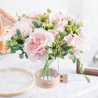 Bouquet di peonia fiori artificiali di seta rosa decorazioni natalizie per la casa fai da te decorazione autunnale houseplant Foto Puntelli matrimonio
