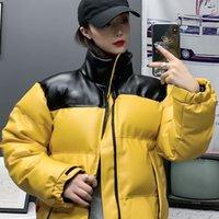 Classic Hommes PU Cuir Vestes Femme Hiver Parkas Mode Broderie Lettre Patern Contraste Contraste Couleur Casual Vêtements De Vêtements d'extérieur
