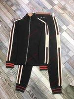 Gucci suit men Primavera e Outono New Men's Listred Jacket Calças Running Terno Absorvente Respirável Moda Esportes Terno Ao Ar Livre Esportes Casuais desgaste