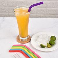 6 STÜCKE + 2Brush / Set 23cm Candy Colors Silikon Stroh wiederverwendbar Gefaltet gebogener Straweis Home Bar-Zubehör Silikon-Röhrchen GWF5274