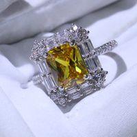 Victoria Wieck impresionante joyería de lujo hecha a mano 925 Sterling Silver T Princess Cut Gold Topaz CZ Diamond Women Band Band Anillo para el amante