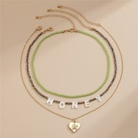 Yamog Honey Letter Angel Heart Pendant Necklaces Multi Layer Crystal Alloy Beaded Clavicle Chain European Women Souvenir Gift Gold Neck Jewelry Accessories