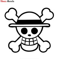 Three Ratels FD59 Luffy Straw Hat Pirate Anime Car Windows Laptops Sticker