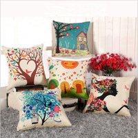 2021 Ins Style Thick Linen Flower Tree Pillow&Pillowcase Bedside Soft Bag Backrest Cushion Car Pillow