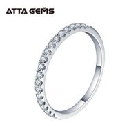 Attagens 925 Sterling Silver Pass Passe Diamond Test Round Corte excelente Total 0.27 CT Anel Moissanite para meninas Cocktail Jewelry 210310