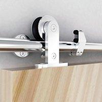 현대 스테인레스 스틸 슬라이딩 헛간 도어 하드웨어 트랙 키트 탑 마운트 반 안티 - 원활하게 조용히 슬라이드