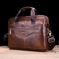 BULLCAPTAIN Men's Genuine Leather Briefcase Shoulder Messenger Handbags Men Leather Business Laptop Briefcase Travel Bags 210315