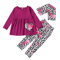 Love 0- 3Y Leopard Girls Suits Baby Outfits Toddler Clothes I...