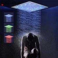 Conjuntos de ducha de baño 304 Acero inoxidable Cromo / Negro / Níquel LED Lluvia Faucet Cabeza Accesorios ultrafinos 30/40 / 50cm