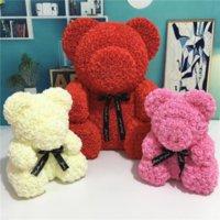 US Sock 38cm Rose Teddy Bear Artificial Flower Led Strängar Dekoration Rose Bear Valentines Day Presenter för kvinnor Hem Bröllop Dekorationecoration