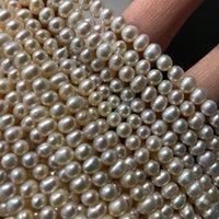Catene all'ingrosso 4-5mm Big Bianco arancione arancione colore viola allentato perla d'acqua dolce collana vera filo stringa 38 cm lungo 10pcs / lot