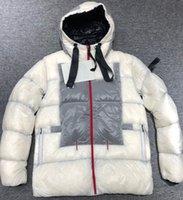 Hommes Nylon Short Down Jacket Hiver Mode Homme Chauffé Chauffer la fermeture à glissière Sport Blanc