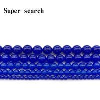 Outros Pedra Natural Marinho Azul Chalcedony Jades Round Beads 4 6 8 10 12mm Fit DIY Braceletnecklace Jóias fazendo parte