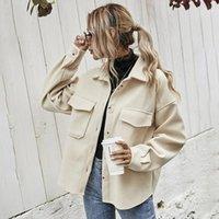 Women's Wool & Blends Women Jacket Turn-Down Collar Loose Drop-Shoulder Coats Winter Coat Ladies Outerwear Harajuku Chic All-Match Jackets