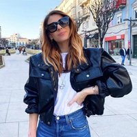 Women's Leather & Faux Foridol Crocodile Print Padded PU Parkas Women Thick Short Black Coat Jacket Autumn Winter Fashion Tops