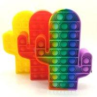 Silicone Rainbow Push Bubble Pencil Bag Case Fidget Toys Simple Dimple Bubble Finger Toys Decompression Relief Interactive School GWF8779
