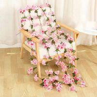 2.2M 인공 벚꽃 꽃 웨딩 Garland 아이비 장식 가짜 실크 꽃 포도 나무 파티 아치 홈 장식 문자열 ZZE5160