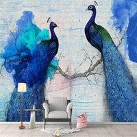 바탕 화면 Youman 3 D 벽화 푸른 벽지 그림 맞춤 거실 장식 럭셔리 동물 공작 벽화