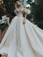 Princess Satin A Line Wedding dresses Long Bridal Gowns Off Shoulder Ruffles Sleeve Dark Ivory Vestidos De Novia Bride Formal Wear