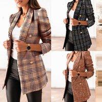 Женская осень зима двубортные пиджаки кнопка военный стиль Blazer элегантный офис леди одежда Femme