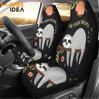 Chair Covers HUGSIDEA Lovely Sloth Print Car Seat Cover Washable Auto SUV Protect Sheet Vehicle Front Seat Place Pew Anti Dirty Case