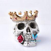 Vintage Crown Skull Crystal Ball Stand Base Decor Sphere Skull Sphere Base