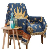 Chair Covers Multifunctional Sofa Towel Cotton Fabric Cushion Sun God Moon Jacquard Woven Blanket Cover Contrast Color