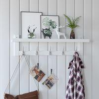 Gastronomia ingresso in bambù con 5 ganci a doppio metallo, scaffale a muro per camera da letto soggiorno soggiorno