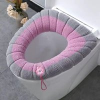 Toilet Seat Covers Bathroom With Handle Closestool Washable Soft Winter Warmer Mat Pad Cushion O-shape Bidet