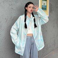 Women's Jackets UMI MAO Summer Tie-dye Sunscreen Clothing Wild Loose Couple Tide Men And Women Zip Up Jacket Famele