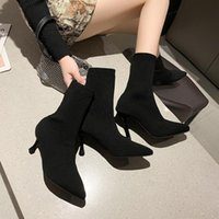 Boots 2021springandautumn Sexy High Heel Socks Women's Luxury Designer Ankle Fashion Shoes Thin Ladies Shortboots