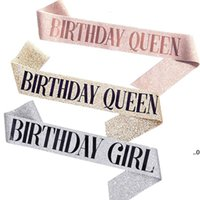 156 * 9.5cm Decoración de cumpleaños Dorado Rosa Cumpleaños Reina Chica Satin Sash Mujeres Adultos Cumpleaños Strap Strap Supplies FWE8625