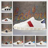 [상자] Gucci Ace series white shoes 이탈리아 꿀벌 녹색 빨간색 줄무늬 남성 여성 운동화 캐주얼 신발 파티 트렌드 에이스 패션 신발 걷는 트레이너 샤우스 붓는 팜