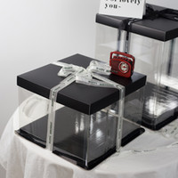واضح كرافت ورقة كب كيك مربع كعكة مربع مع نافذة واضحة حفل زفاف الإحسان زينة مربع كعكة التعبئة والتغليف هدايا التعبئة والتغليف FY4420