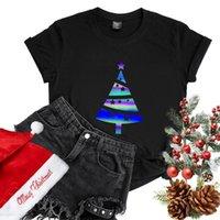 Women's T-Shirt Colorful Reflective Christmas Tree Clothes T Shirt Women Vintage Luminous Xmas Femme Short Sleeve O Neck T-shirts