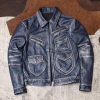 Men's Leather & Faux .Brand Vintage Blue Orgin Genuine Jacket.Cool Quality Young Short Safari Style Cowhide Coat.