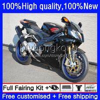 Faneros de motocicleta para Aprilia RSV 1000 R 1000R RSV1000R MILLE stock Black RV60 Cowling 9NO.17 RSV-1000 RSV1000 R RR 03 04 05 06 RSV1000RR 2003 2004 2005 2006 Kit de cuerpo