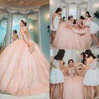샴페인 로즈 골드 Quinceanera Dresses 2021 반짝 이는 레이스 페르시 스팽글 레이스 업 코르 셋 백 vestidos de casers 댄스 파이프
